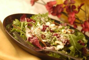 The salad course was radicchio with arugula and feta salad topped with dates and roasted hazelnuts.
